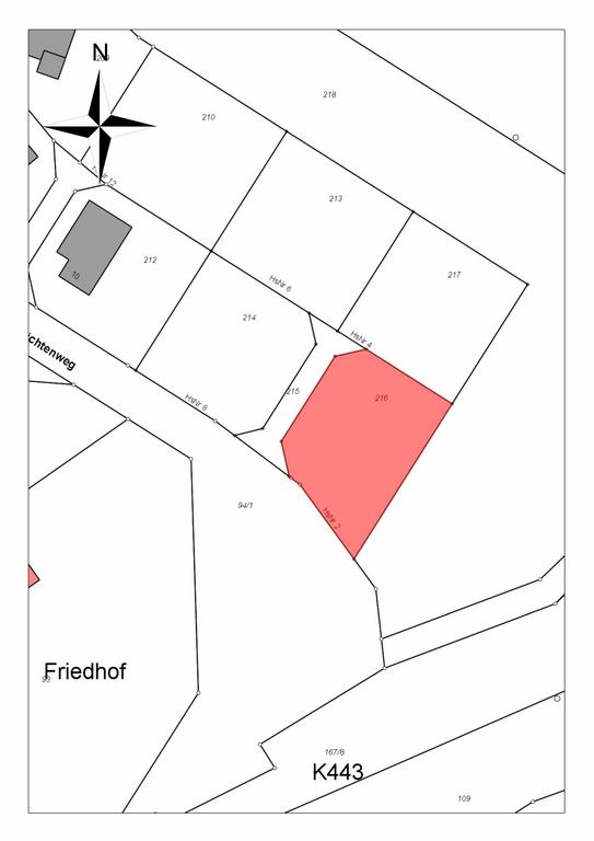 Bauplatz Nr. 216 im Wohngebiet Fichtenweg Rohnstadt
