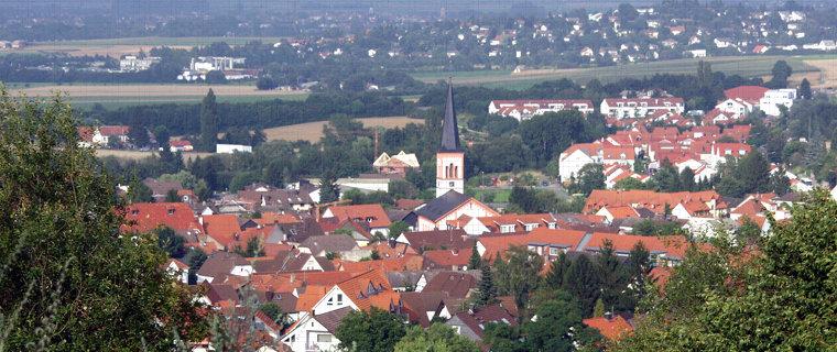 Blick über Roßdorf und Gundernhausen