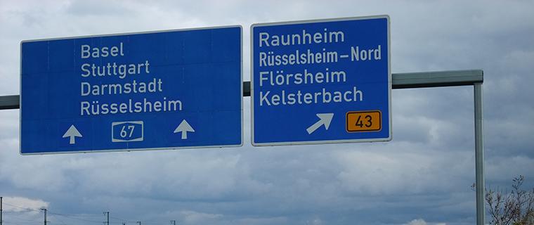 Autobahnanschluss A3 und A67