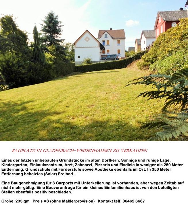 Baugrundstück zu verkaufen in Gladenbach-Weidenhausen